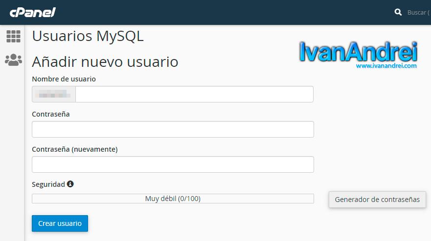Cpanel - Añadir usuario a MySQL