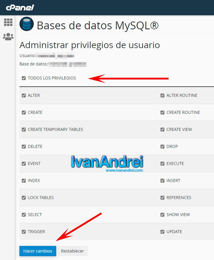 Cpanel - Privilegios en usuario MySQL