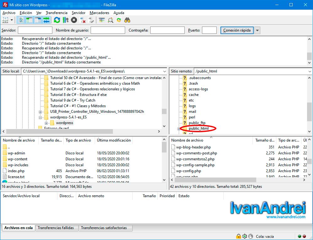 ftp FileZilla para subir archivos a tu hosting
