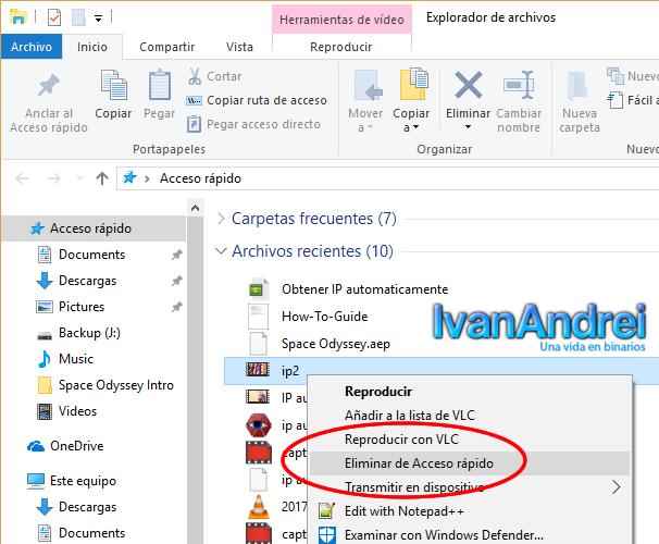 Eliminar archivos recientes o carpetas recientes windows 10