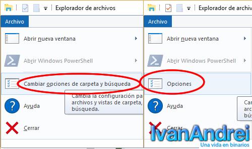 Explorador de Windows - Opciones
