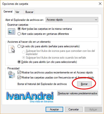 Opciones de carpeta - Windows 10