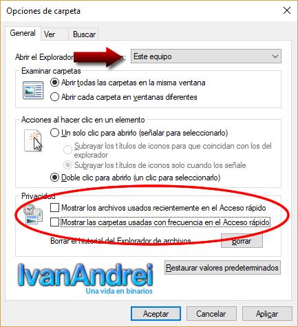 Opciones de carpeta - eliminar archivos recientes en windows 10