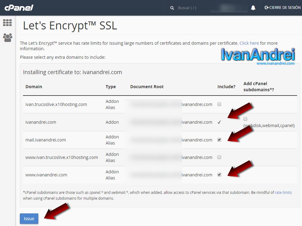 Instalar certificado SSL gratis con Let's Encrypt desde Cpanel