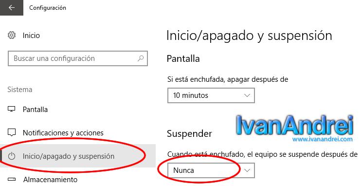 Windows 10 - Opción suspender