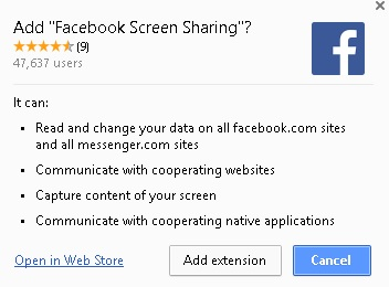 Facebook Screen Sharing - Extensión Google Chrome