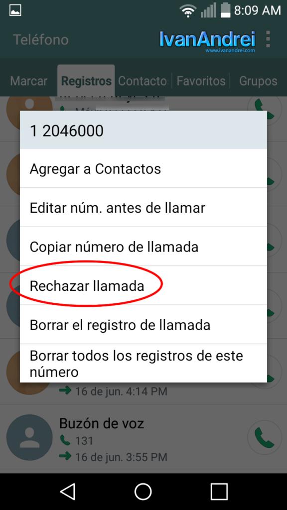 Bloquear llamadas entrantes Android - Rechazar llamada