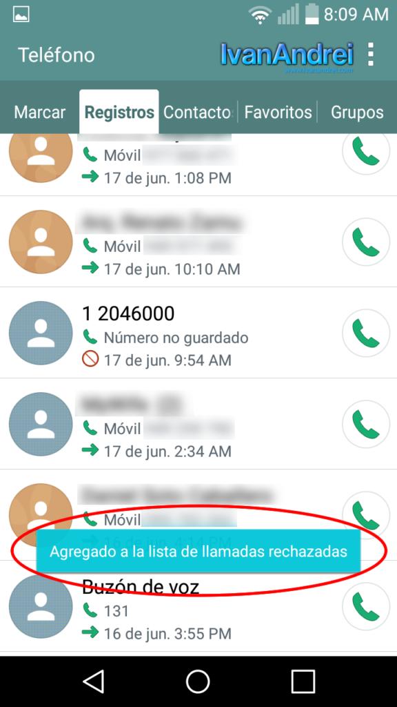 Como bloquear llamadas entrantes en Android - Confirmación