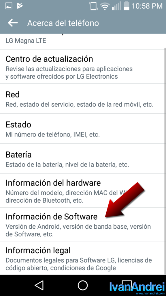 Android - Información del software