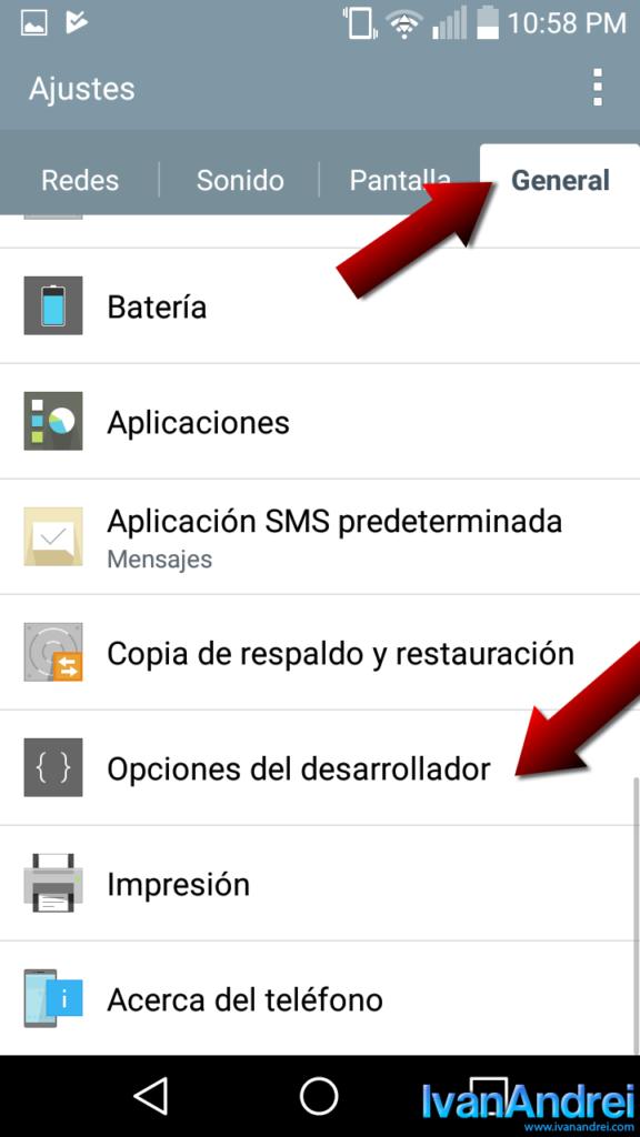 Android - Activar opciones del desarrollador