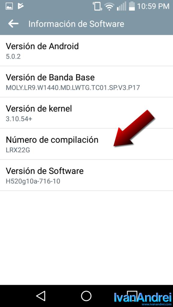 Android - Número de compilación