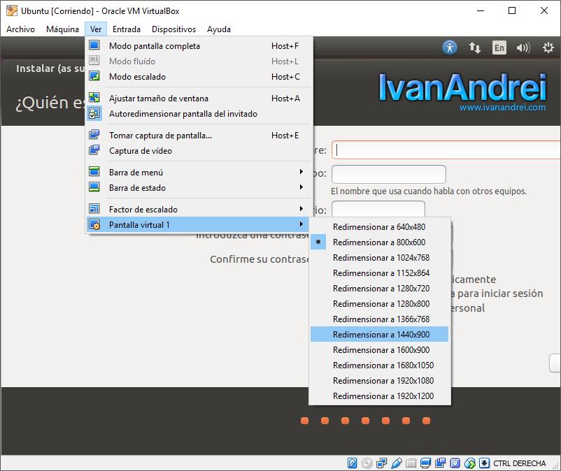 Cambiar resolución de pantalla en VirtualBox