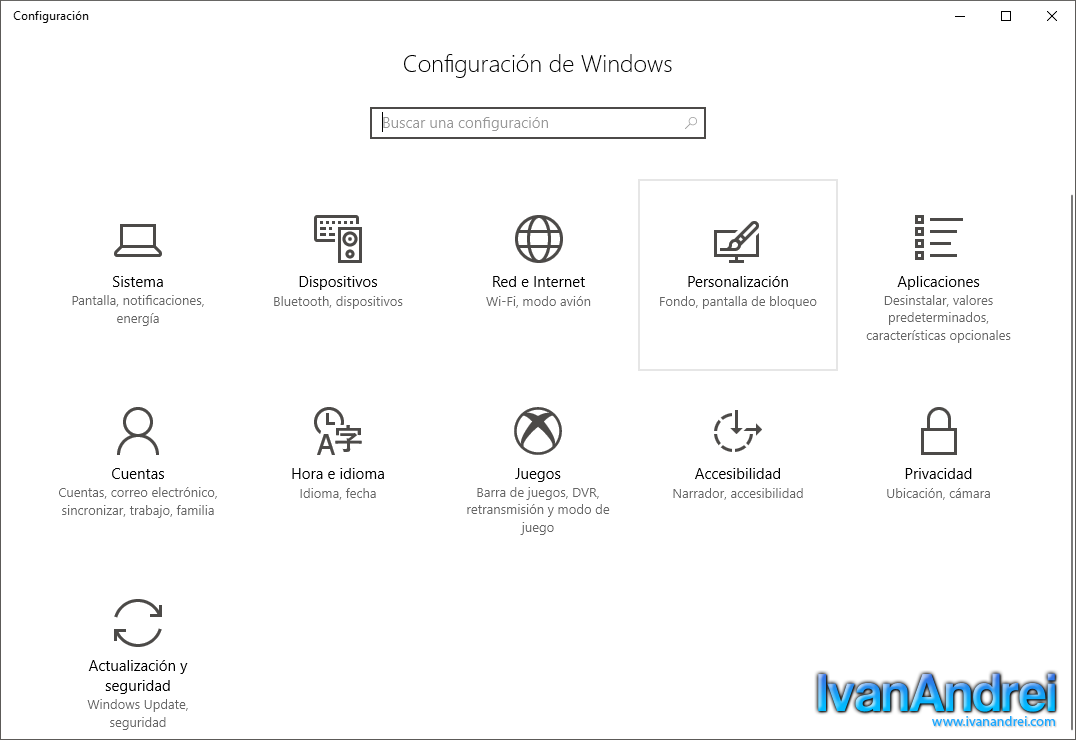 Configuración de Windows 10 - Personalización