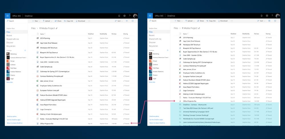 OneDrive - Espacio entre archivos