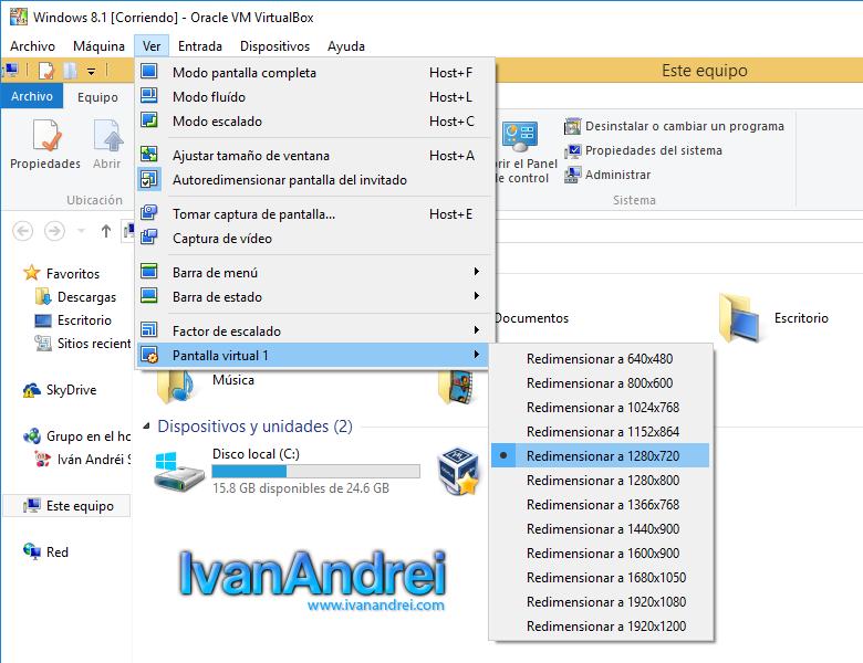 VirtualBox - Cambiar resolución en Windows