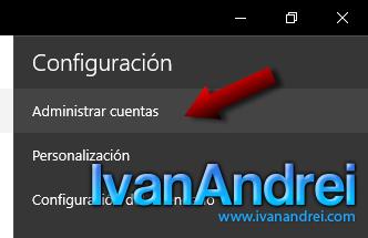 Windows 10 - Calendario - Administrar cuentas