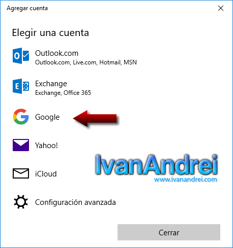 Windows 10 - Calendario - Cuenta Google