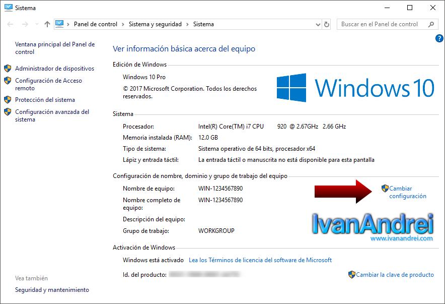 Windows 10 - Propiedades del sistema