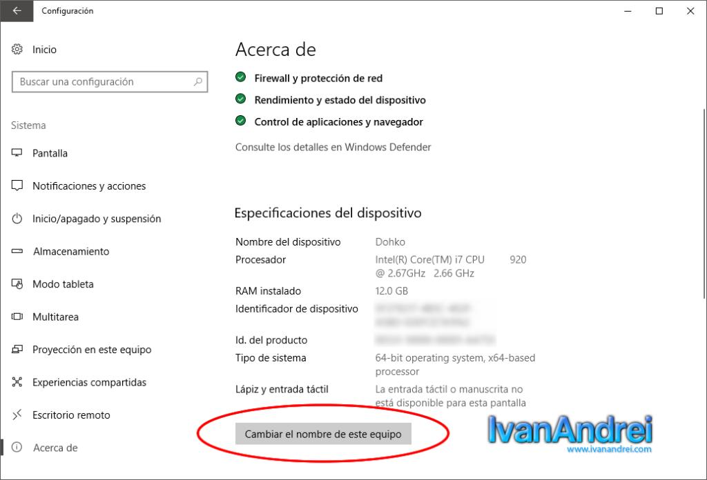 Cambiar el nombre del equipo en Windows 10