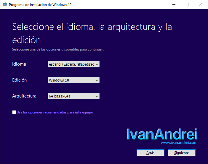 Windows 10 - Crear medio de instalación - Seleccionar edición y arquitectura de windows