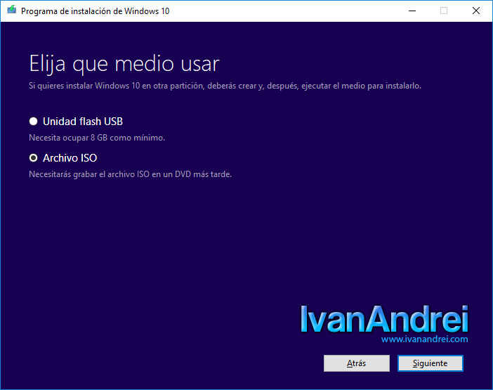 Windows 10 - Crear medio de instalación - Medio usar