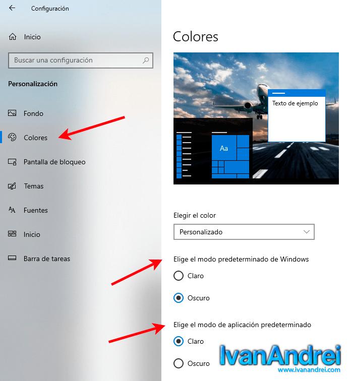 Modo de aplicación predeterminado - Windows 10