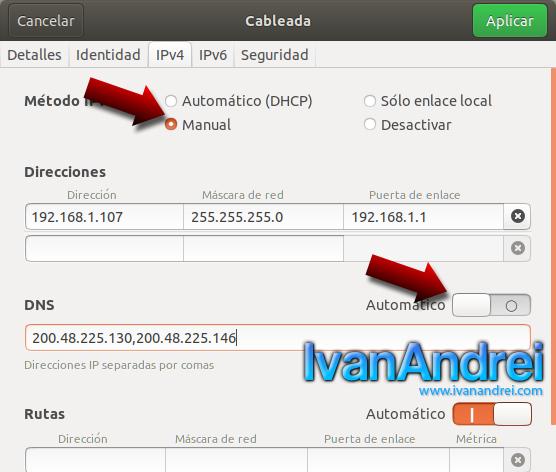 Asignar una IP estática en Ubuntu
