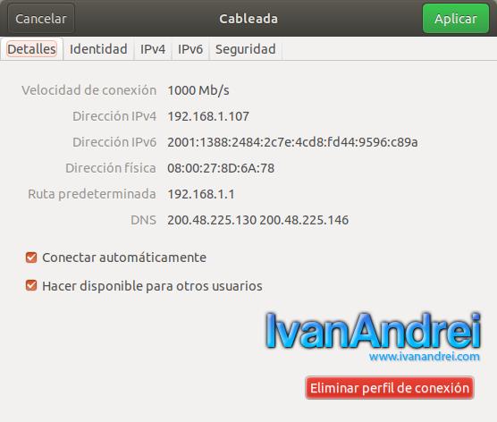 Ubuntu - Información detallada de red