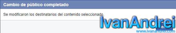 Facebook - Cambio de público completado