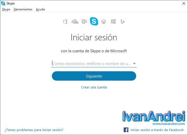 Skype - Iniciar sesión con una cuenta de Facebook