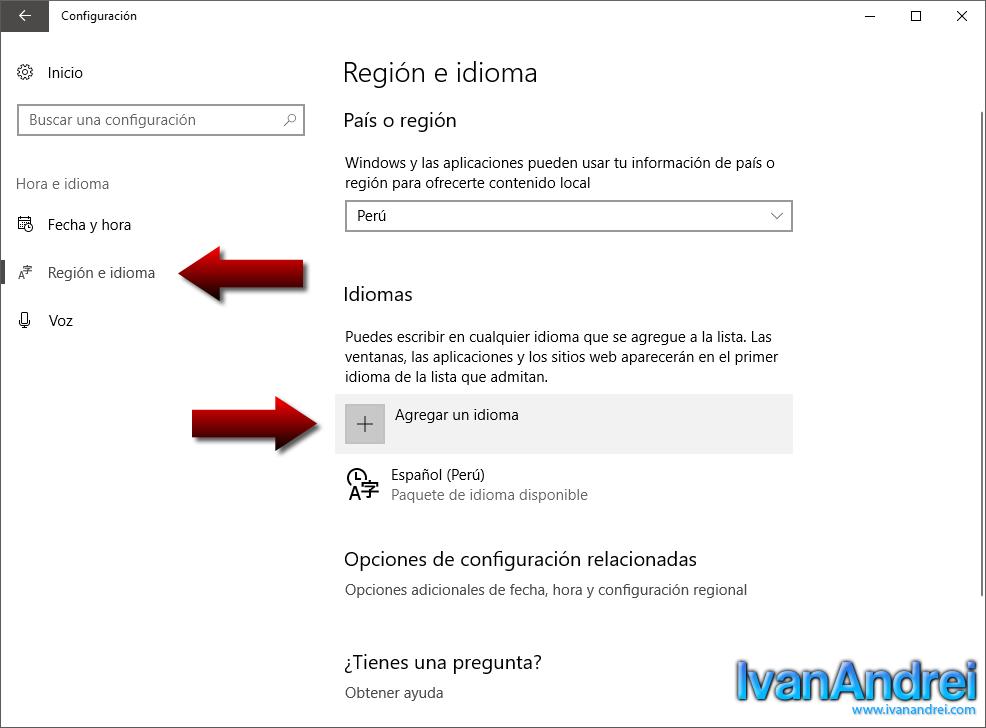 Windows 10 - Región e idiomas - Agregar idioma