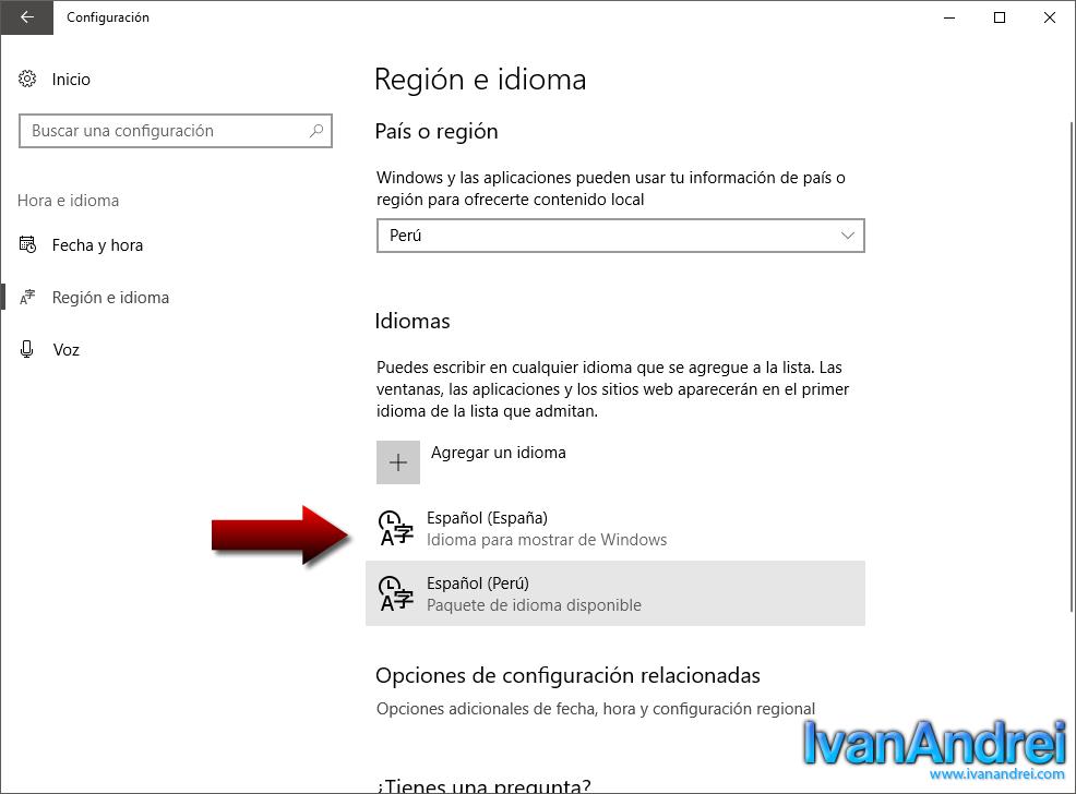 Windows 10 - Configuración - Región e idioma - Lista idiomas - Solucionar error de idioma al instalar SQL Server 2017