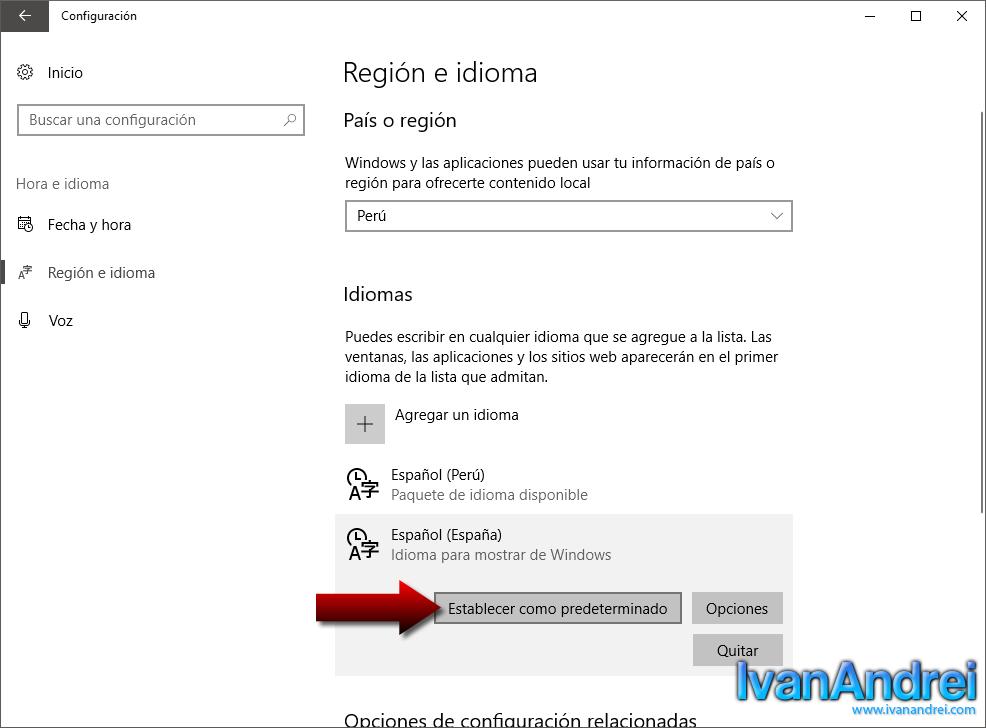 Windows 10 - Configuración - Región e idioma - Establecer idioma como predeterminado