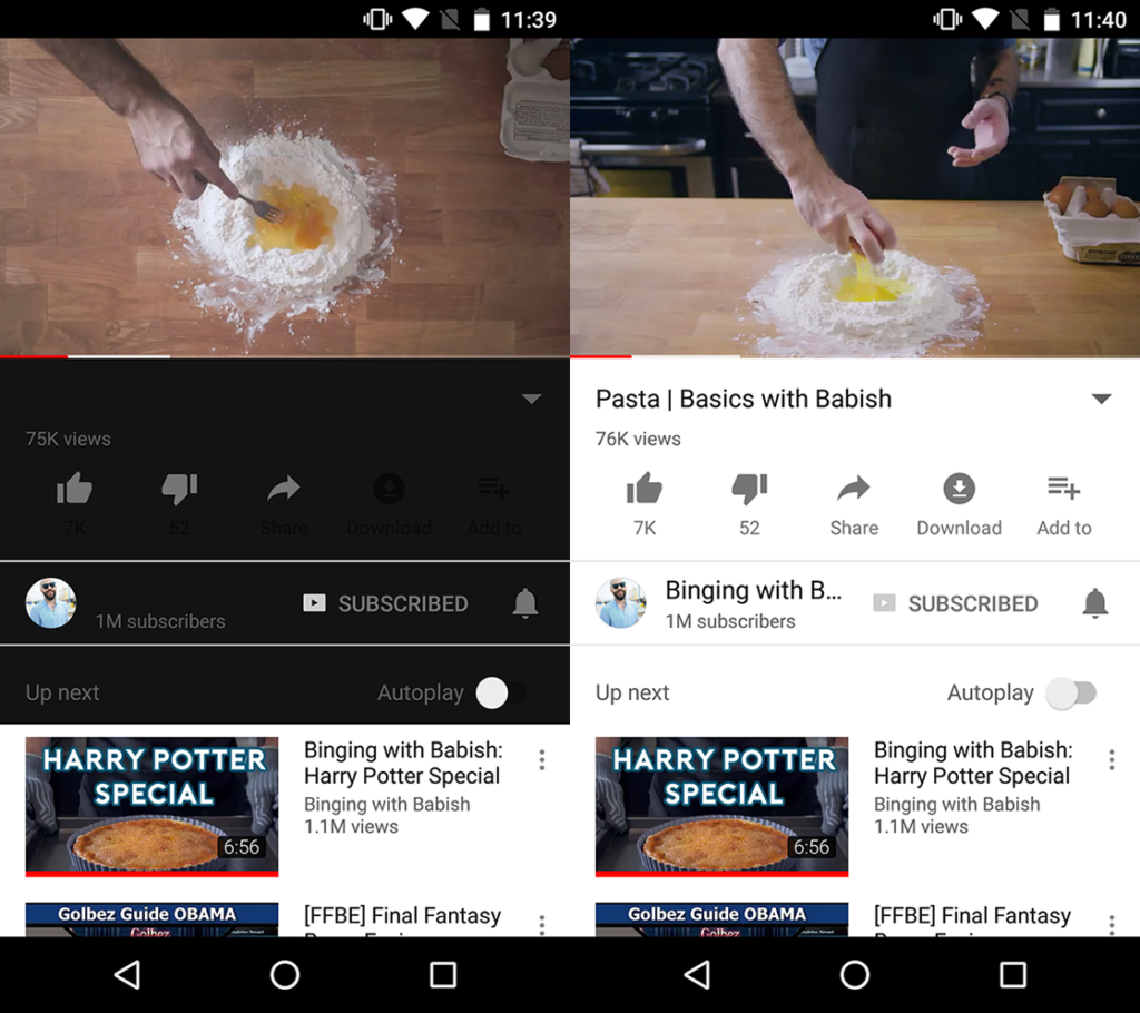 Modo nocturno youtube android experimental