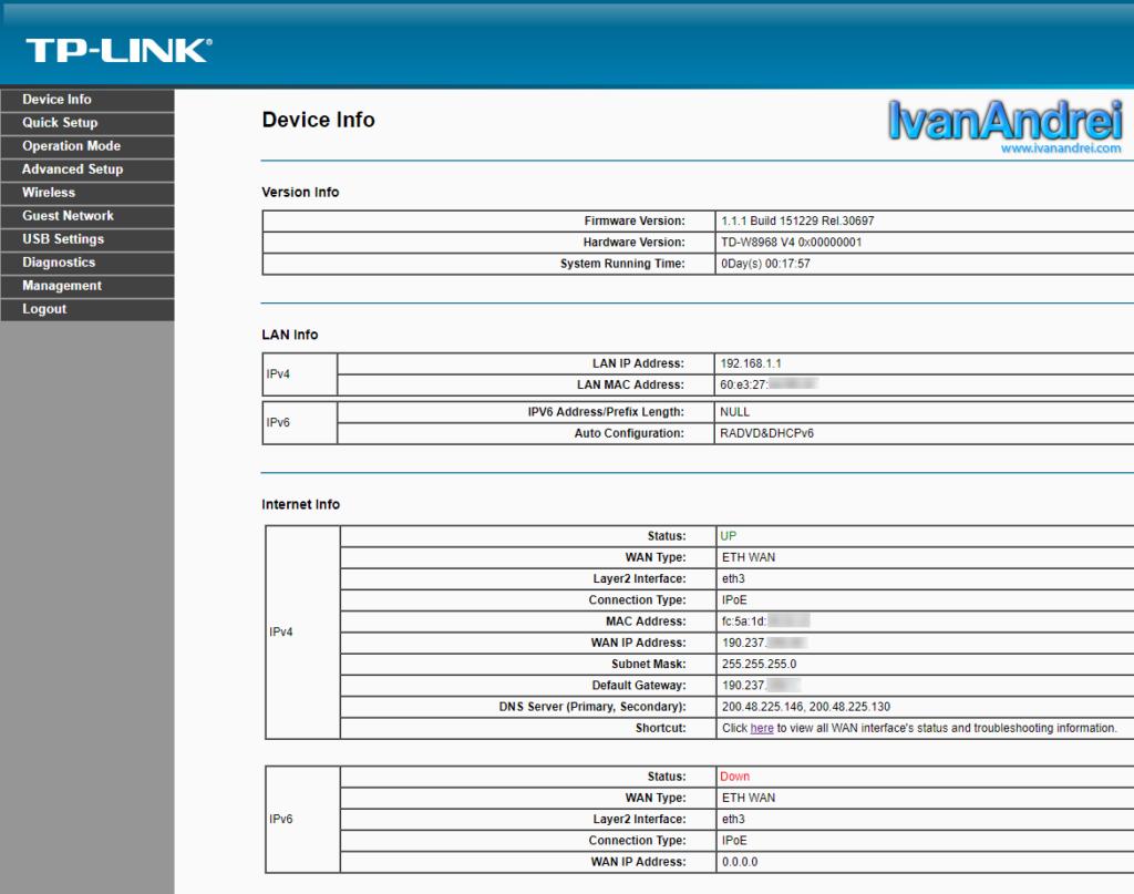 Configurar TP-Link modo router - Obtener IP sobre Ethernet (IPoE)
