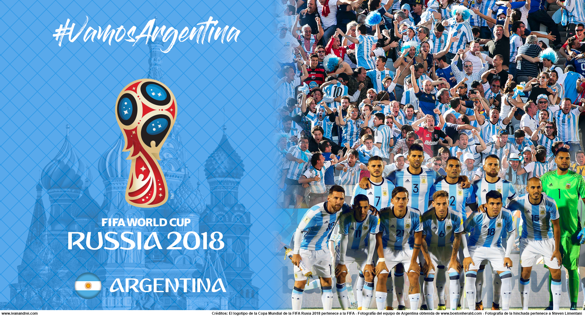 Wallpaper de la selección argentina de fútbol para la Copa Mundial de la FIFA - Rusia 2018 - Edición para PC (1920x1080)