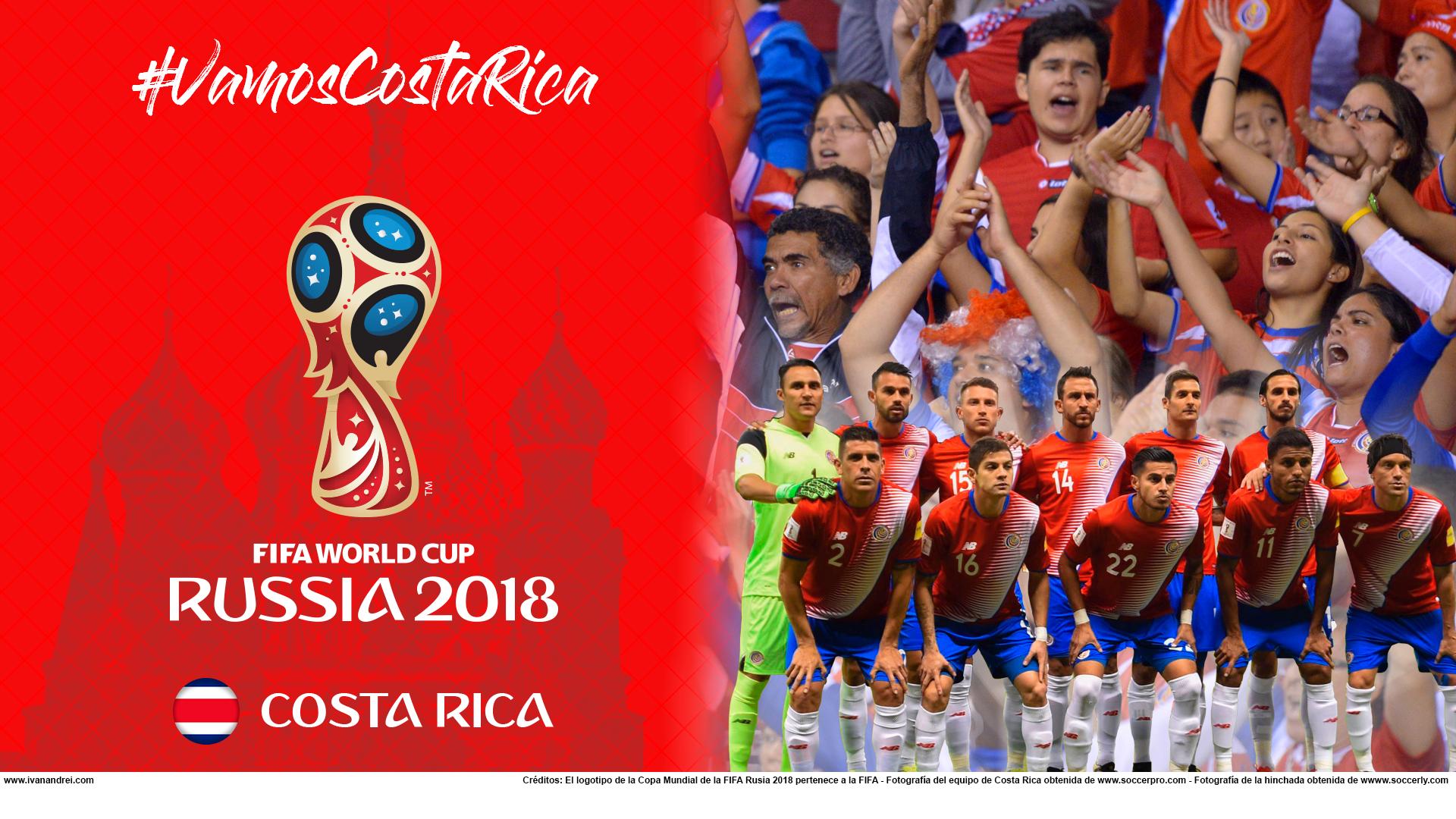 Wallpaper de la selección costarricence de fútbol para la Copa Mundial de la FIFA - Rusia 2018 - Edición para PC (1920x1080)
