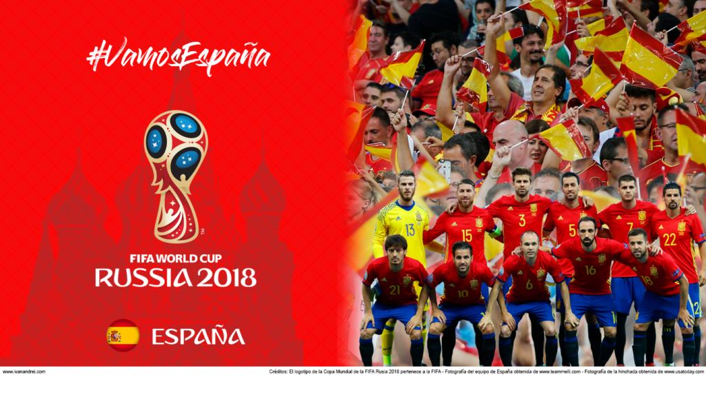 Wallpaper de la selección española de fútbol para la Copa Mundial de la FIFA - Rusia 2018 - Edición para Laptop (1366x768)
