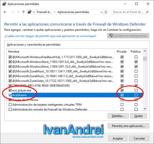 Firewall de Windows - Permitir aplicación AceStream