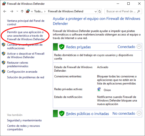 Firewall de Windows - Permitir aplicacion