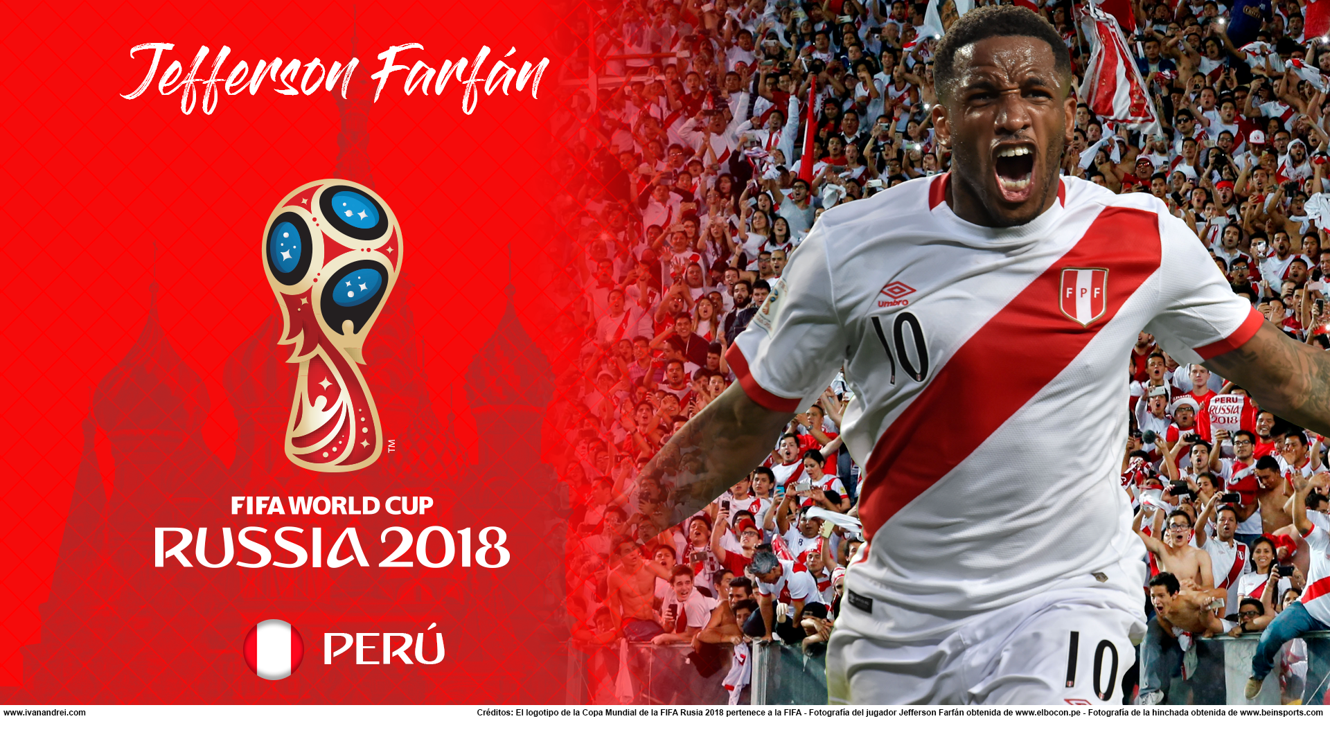 Wallpaper de Jefferson Farfán de Perú para la Copa Mundial de la FIFA - Rusia 2018 - Edición para PC (1920x1080)