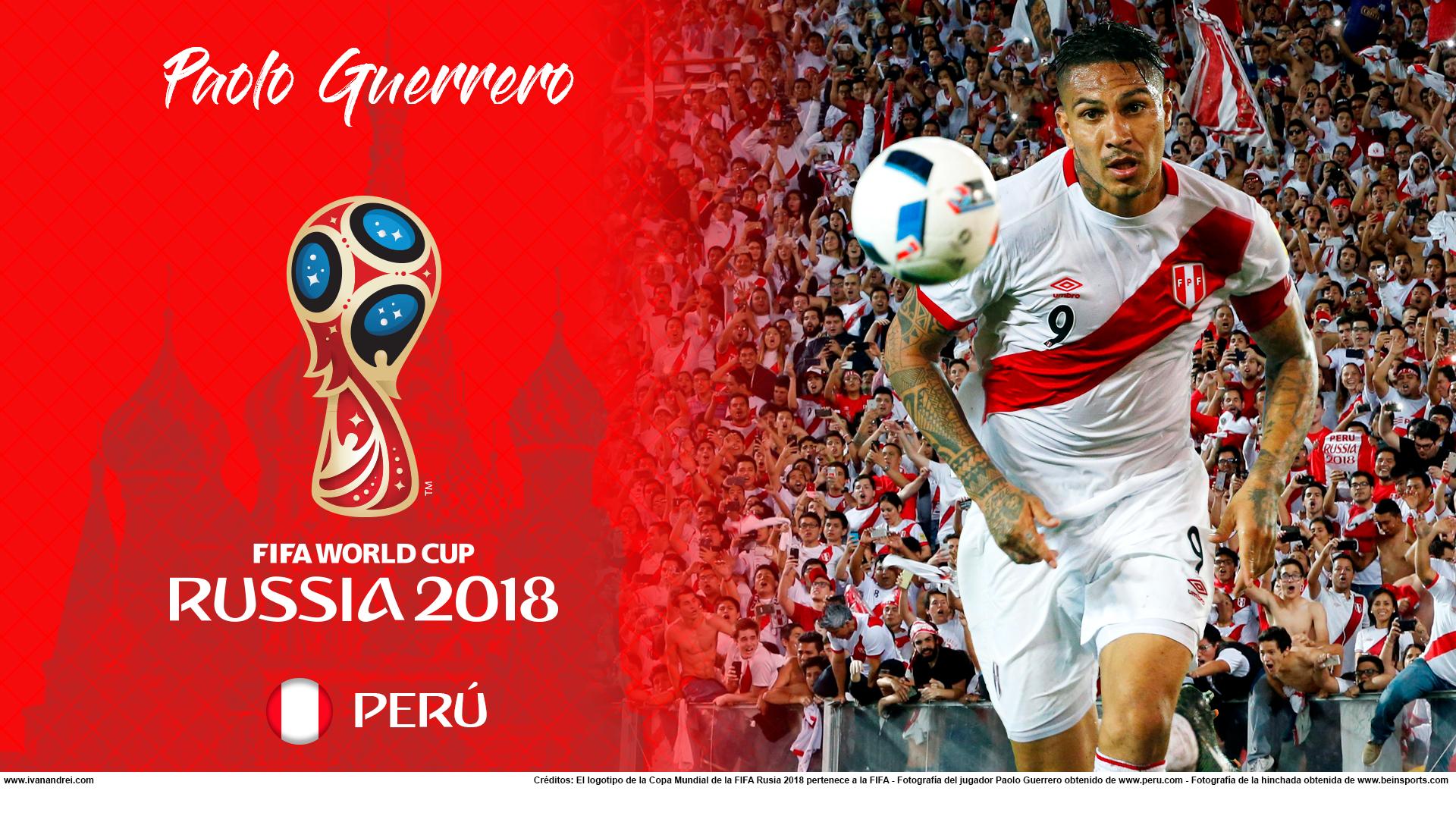 Wallpaper de Paolo Guerrero de Perú para la Copa Mundial de la FIFA - Rusia 2018 - Edición para PC (1920x1080)