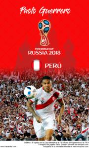 Wallpaper de Paolo Guerrero de Perú para la Copa Mundial de la FIFA - Rusia 2018 - Edición para teléfonos con resolución 480x800