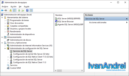 Ingresar a SQL Server configuration manager en Windows 10