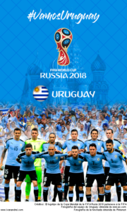 Wallpaper de la selección uruguaya de fúbol para la Copa Mundial de la FIFA - Rusia 2018 - Edición para teléfonos con resolución 480x800