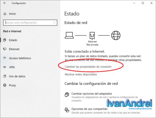 Windows 10 - Cambiar las propiedades de conexión