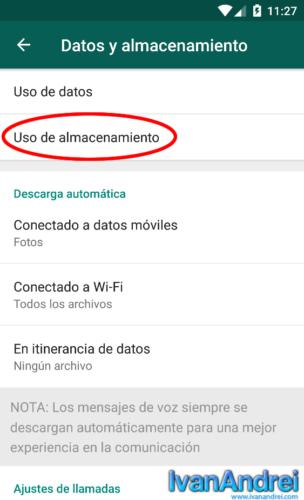 WhatsApp - Ajustes - Datos y almacenamiento - Uso almacenamiento