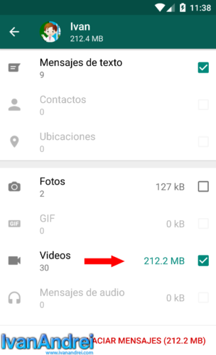 WhatsApp - Borrar Videos