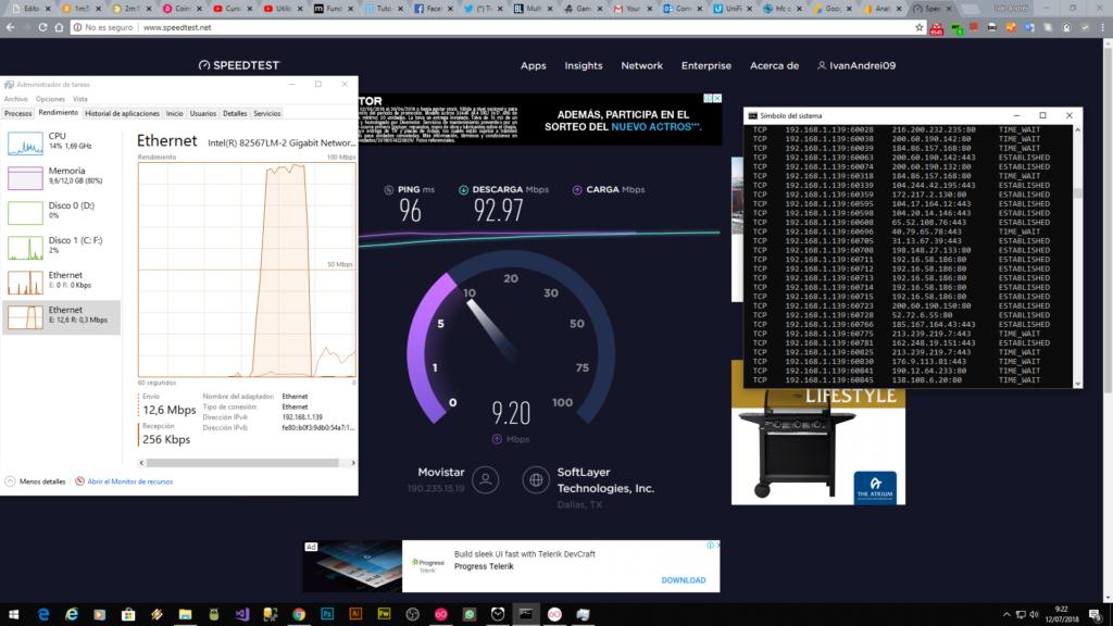 Netstat - Prueba de velocidad con PC libre de virus
