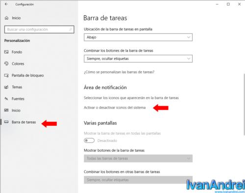 Configuración - Personalización - Barra de Tareas - Área de notificación